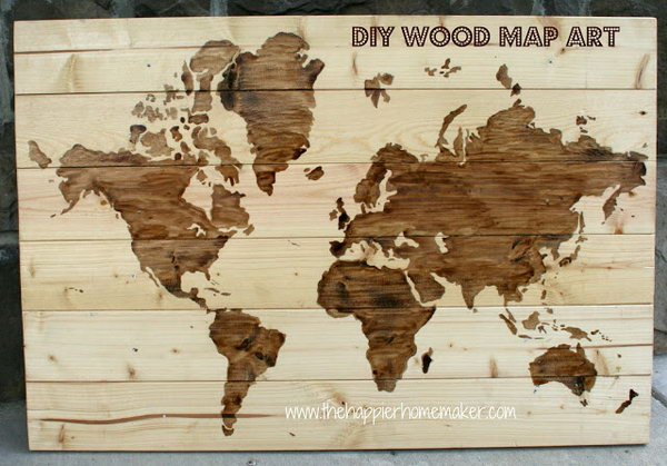 DIY Wooden World Map Art for Geography Nut