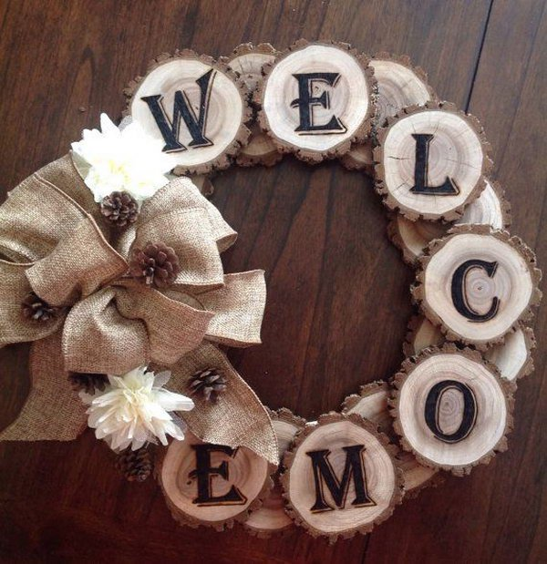 Wood Burned Welcome Tree Slice Wreath