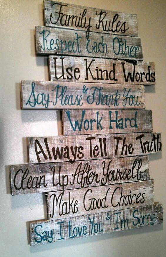 Family Rules Pallet Sign.
