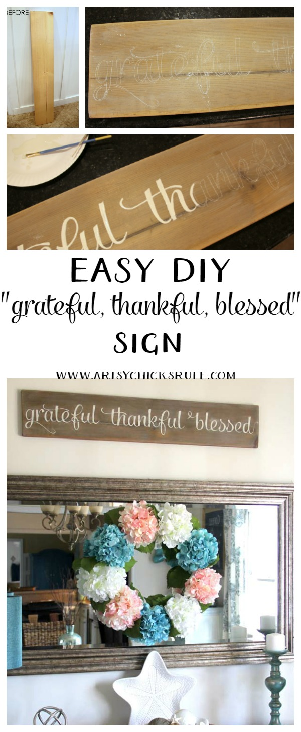 'Grateful, Thankful, Blessed' DIY Weathered Sign.