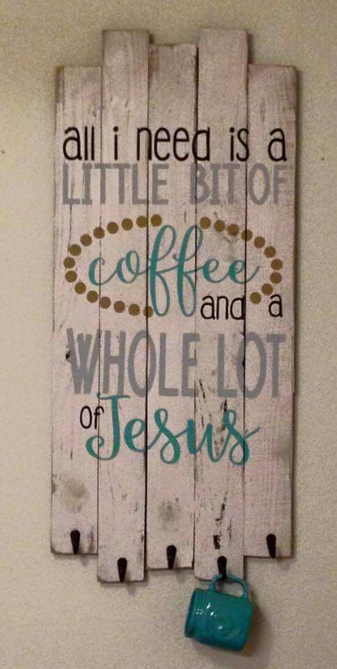 Pallet Sign and Coffee Cup Holder.