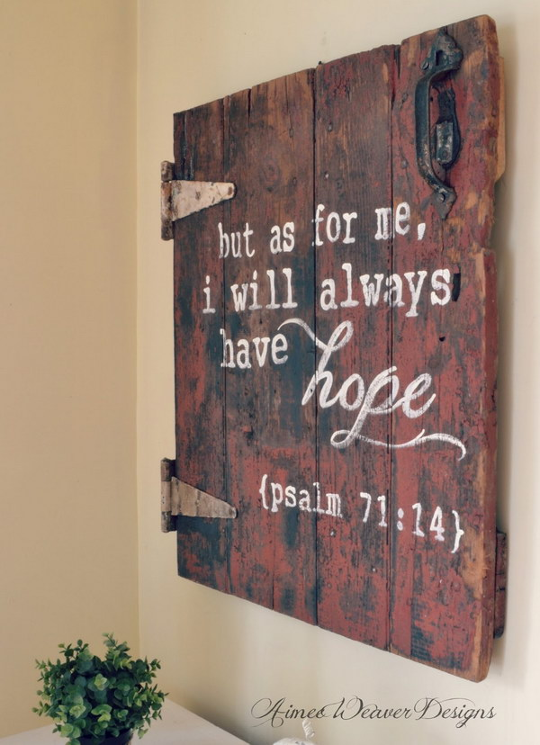 Bible Verse Wood Sign Made from an Antique Barn Door.