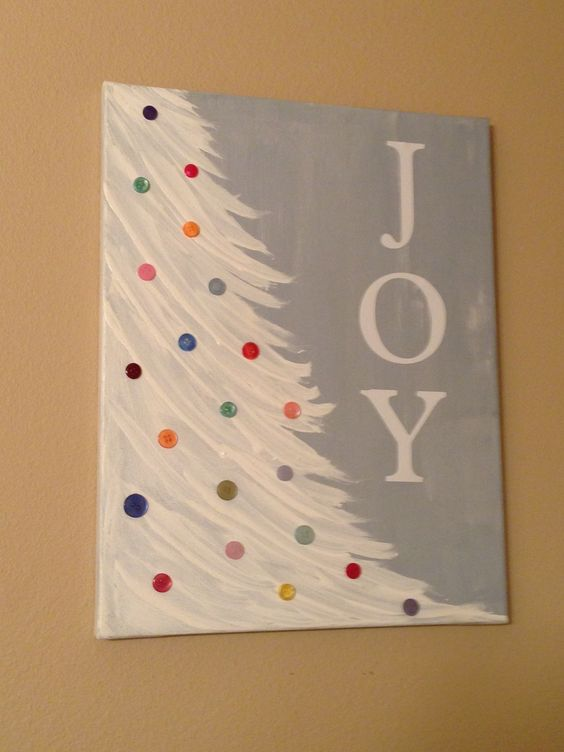 marvelous Cute Christmas Canvas Paintings Part - 4: Snowy Christmas Tree With JOY Letters