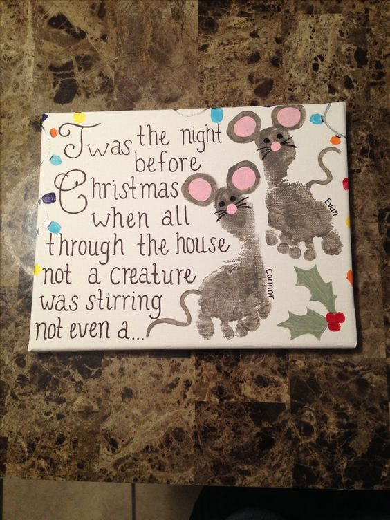 Thumbprint and Footprint Christmas Canvas.