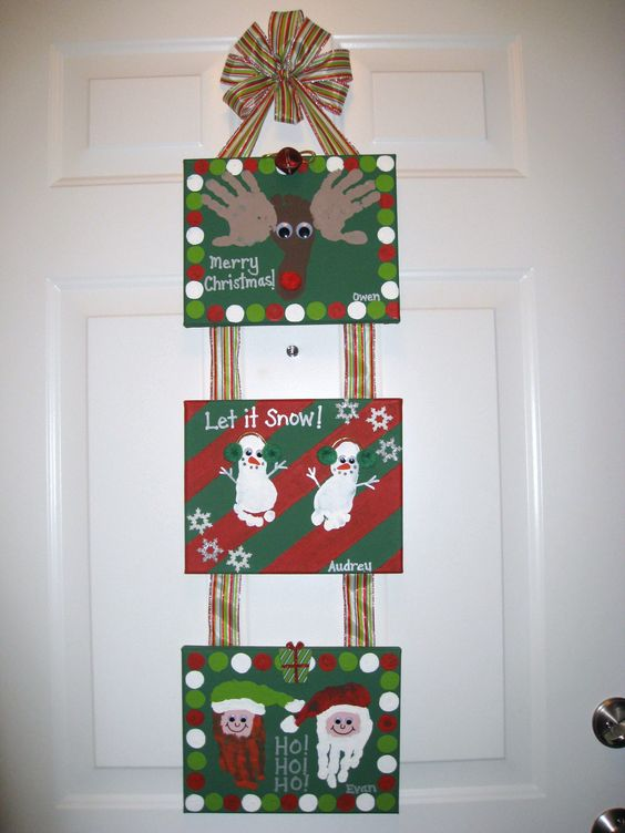 Christmas Handprint Footprint Canvas Craft.