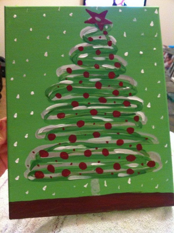 Christmas Tree Canvas with Red Sprinkles and Snow Polka Dots.