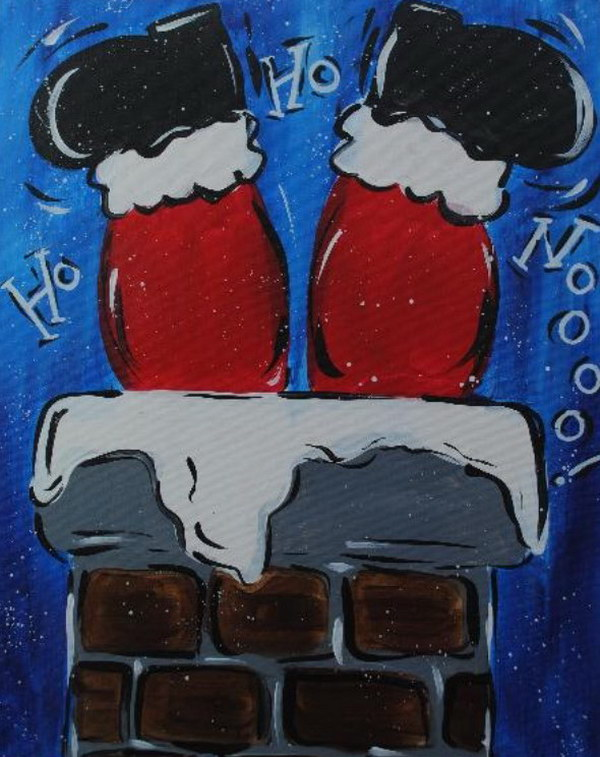 Santa Going Down Chimney Canvas.