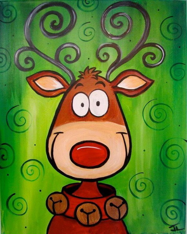 Cute Reindeer Christmas Canvas.