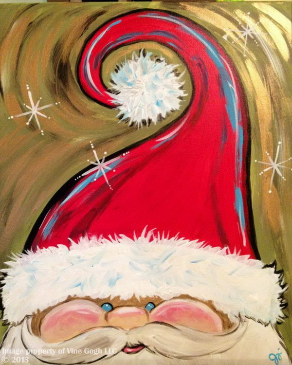 Hand Painted Adorable Santa Face.