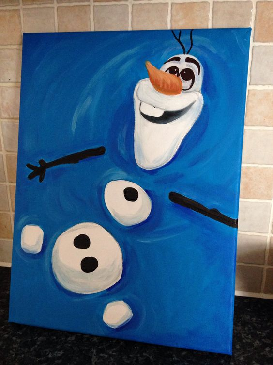 Frozen Olaf Painting on a Canvas.