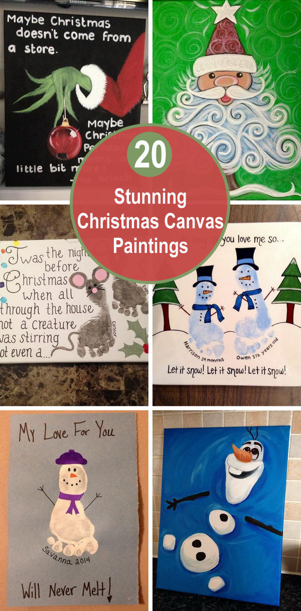 20+ Stunning Christmas Canvas Paintings.