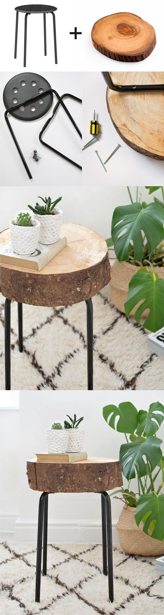 Ikea Hack Wooden Stool.