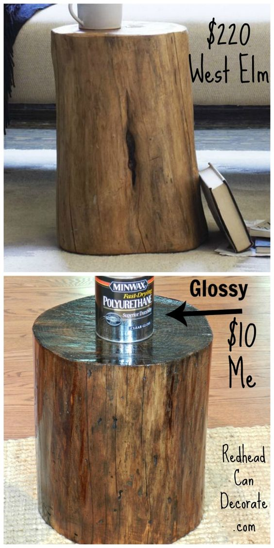End Table Made Out Of Dead Tree Stump.