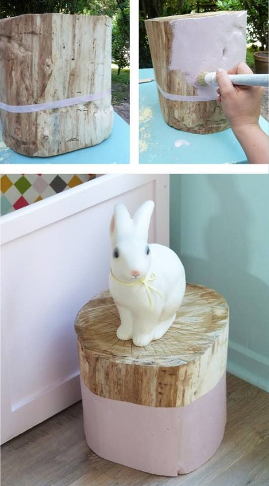 Easy DIY Bedside Table Made From A Log.