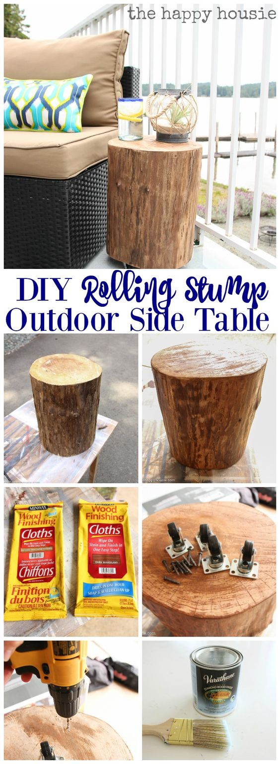 DIY Outdoor Rolling Stump Side Table.