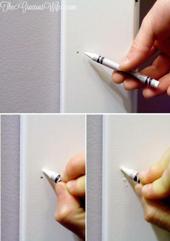 Use Crayon to Fill Nail Holes Quickly.