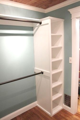 Tension Rods + Bookshelves = Instant Closet System.