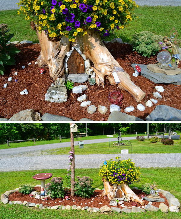 Tree Stump Fairy Garden.