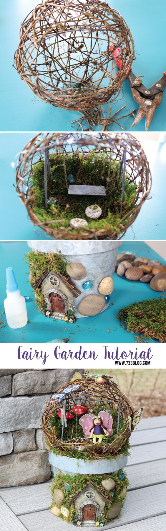 DIY Fairy Garden Sphere on the Miniature Fairy Garden.