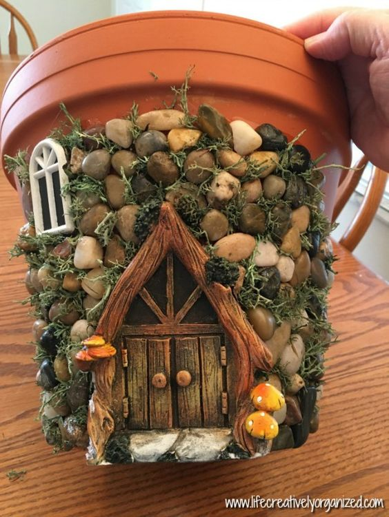 Whimsical DIY Fairy House Planter.