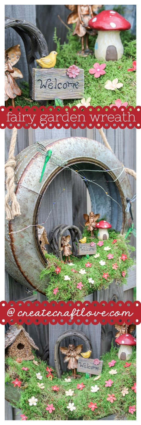 DIY Fairy Garden Wreath.