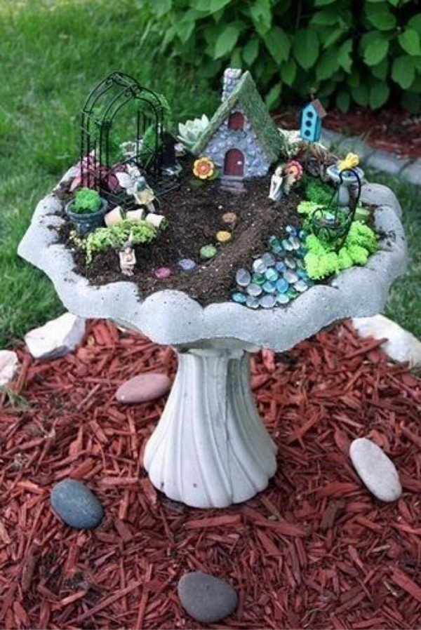 DIY Fairy Garden in a Birdbath.