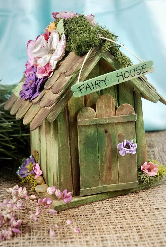 Popsicle Stick Fairy House.