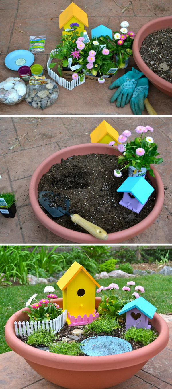 DIY Fairy Garden Installed in a Larger and Shallower Clay Pot.