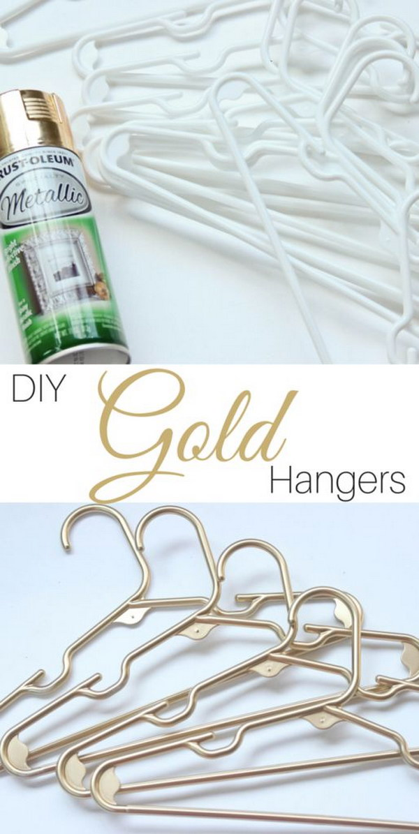 DIY Gold Plastic Hangers.