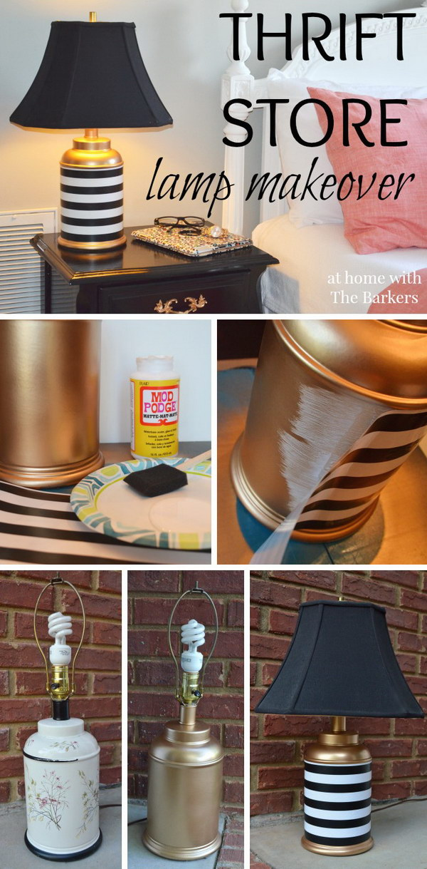 Thrift Store Lamp Makeover with Gold Spray Paint.