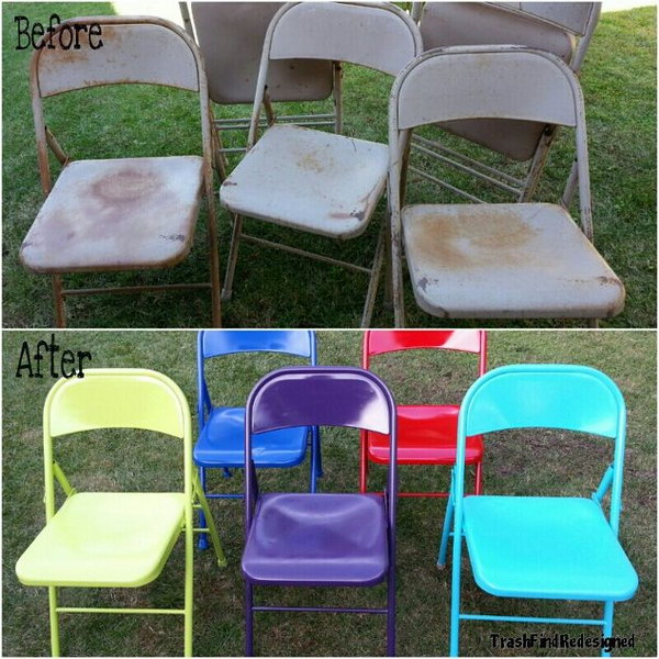 Up-cycled & Brightened Vintage Metal Chairs.