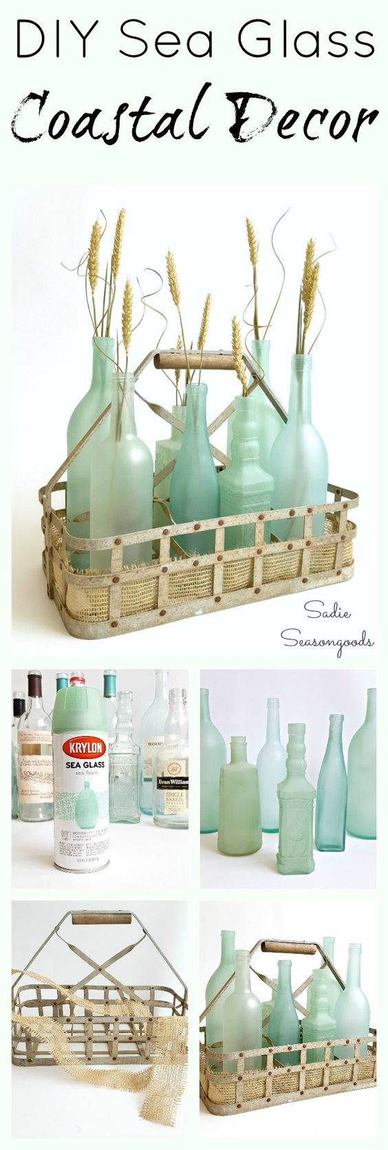 DIY Coastal Decor Using Sea Glass Spray Paint.