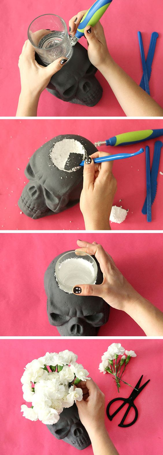 DIY Skull Vase for Halloween.