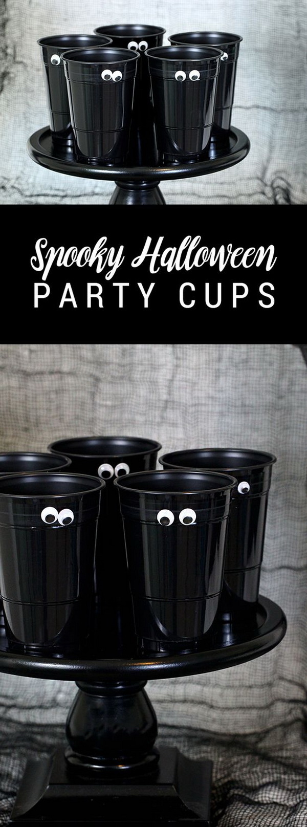Easy DIY Spooky Halloween Party Cups.