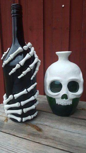 DIY Skeleton Bottles.