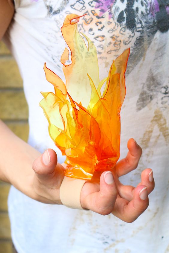 Handheld Fire for Witch Costume.